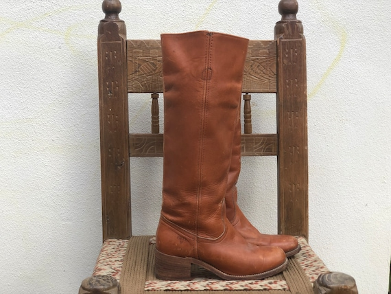 Size 5 1970's Frye Campus Boots / Light Brown Leat
