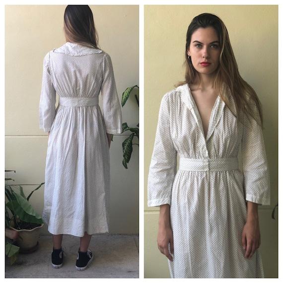 Antique Cotton Dress / 1910's Cotton Workwear Dre… - image 2