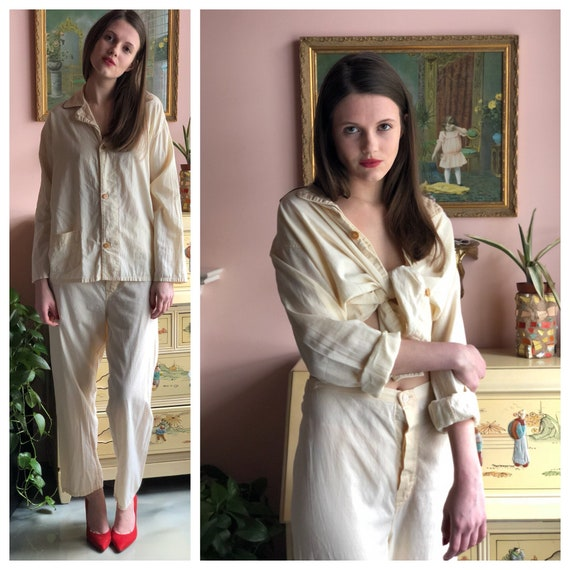 1940s Pajamas   Styled by Horner   Cotton Button Up Shirt    8ef8bb534
