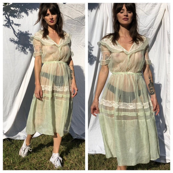1930s Sheer Dress / Cotton Organza / Chartreuse Dr