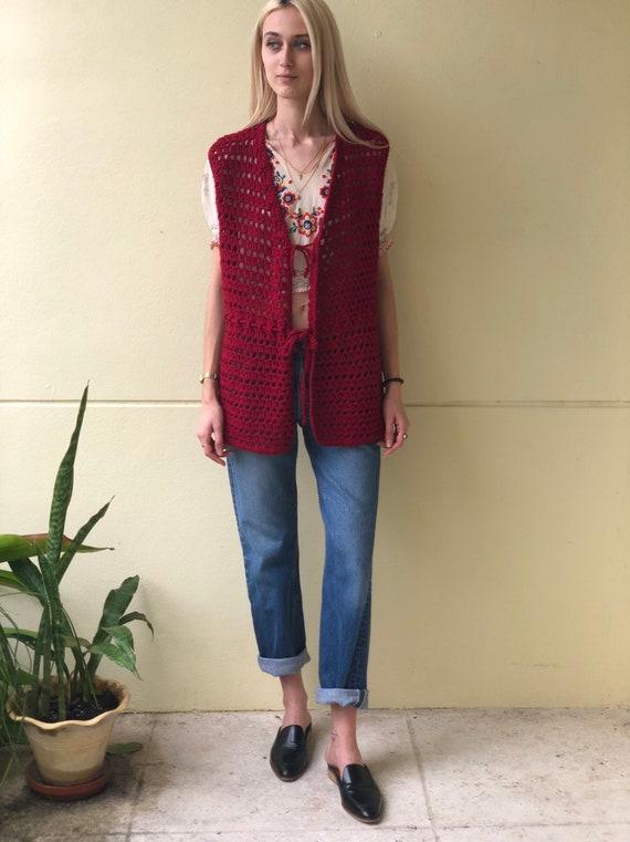Vintage Sweater Vest / Open Knit 60s Crochet / Kn… - image 2