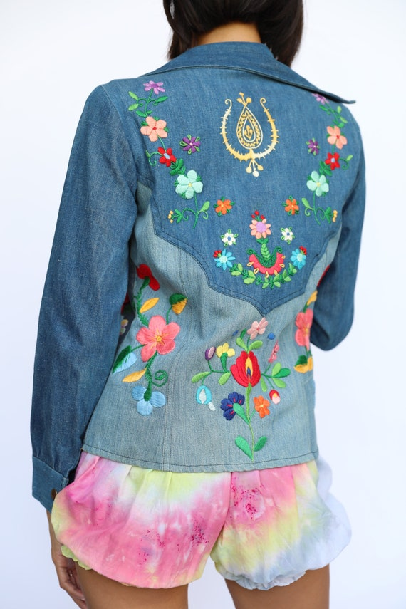 1970's Denim Jacket / Embroidered Floral Patchwork