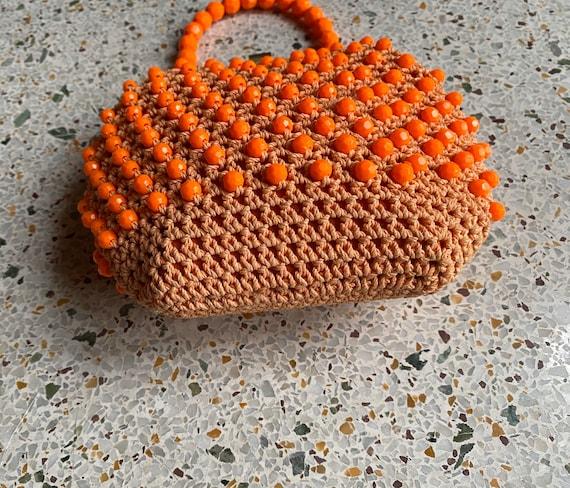 1960's Beaded Raffia Handbag / Top Plastic Handle… - image 3