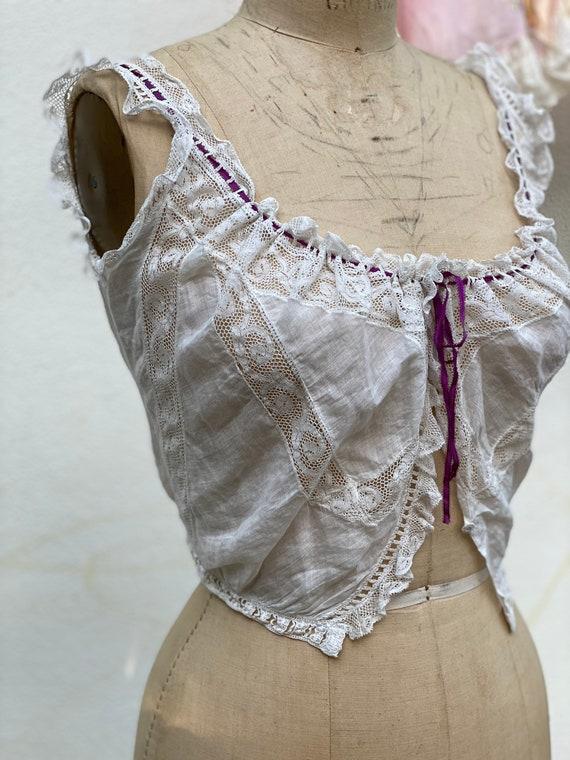 1910's Crochet Cropped Blouse / Antique Lace Pink… - image 4