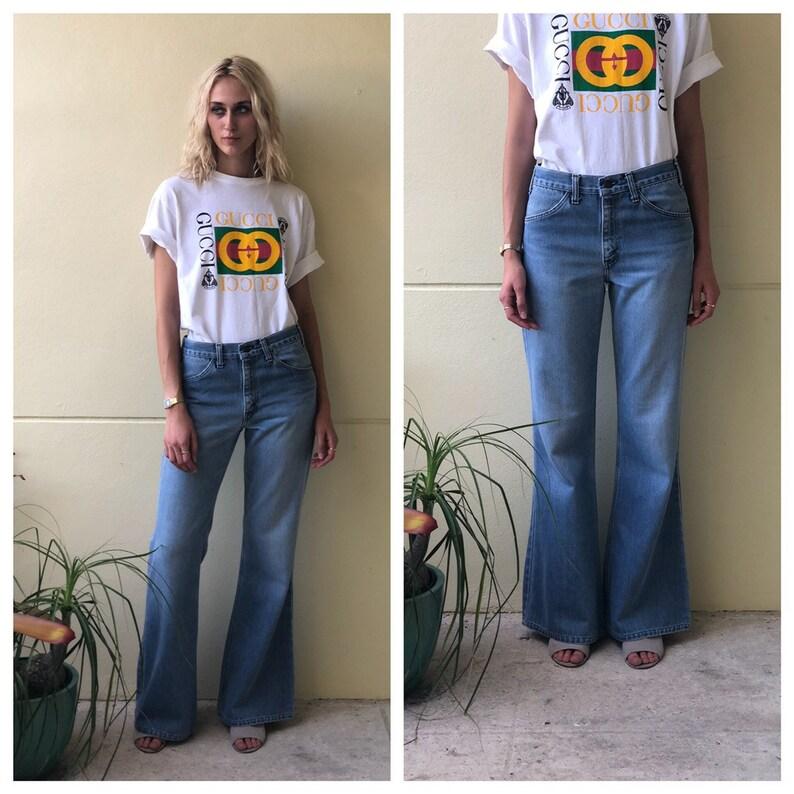 8ac70328 1970's Bell Bottoms Jeans / Plain Pockets / Boho Festival   Etsy