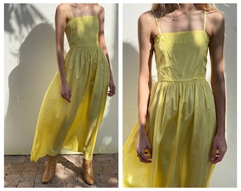 1940's Taffeta Dress / Sleeveless Evening Party Dress / Canary Yellow Taffeta Party Dress / Garden Party / Bridal Party