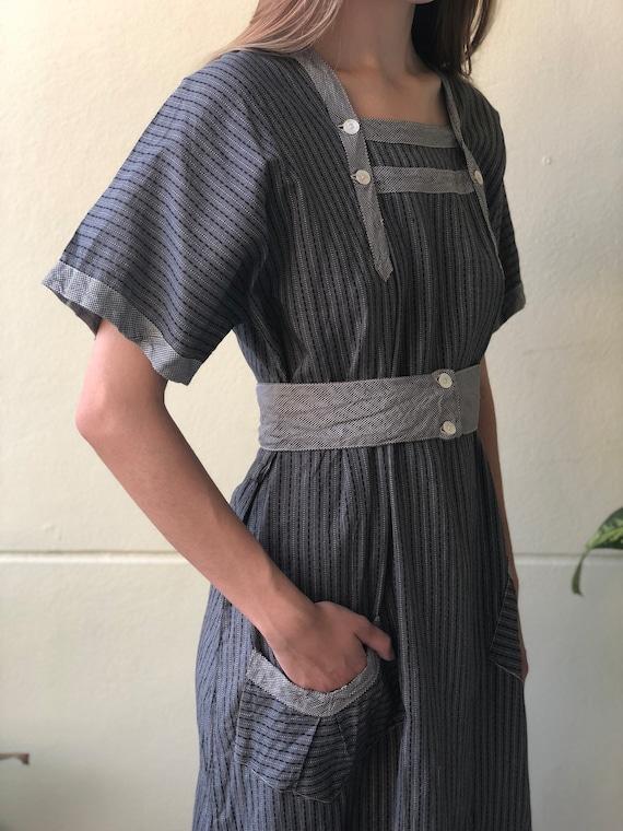 Antique Chore Dress / 1910's Cotton Workwear Tuni… - image 6