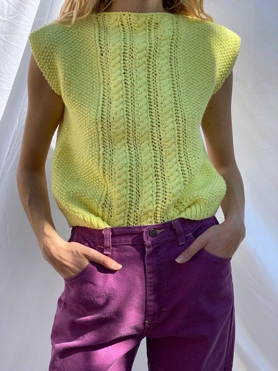 Vintage Sweater Vest / Knit 60s Crochet / Boxy Kn… - image 2