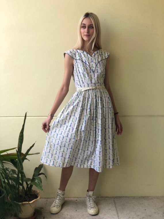 Novelty Cigarette Print Dress / Lady Hands with Br