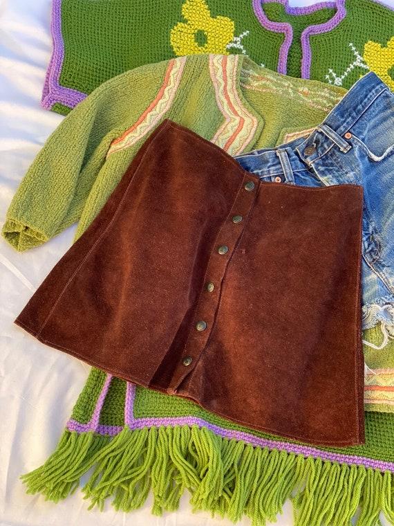 1970's Suede Skirt / Brown Suede Leather Midi Skir