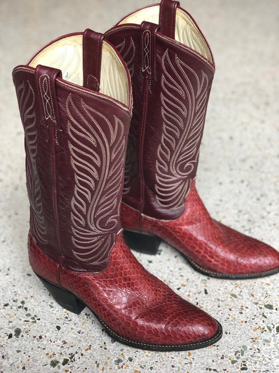Size 9 Cowboy Boots / Dan Post Des Burgundy Red Sn