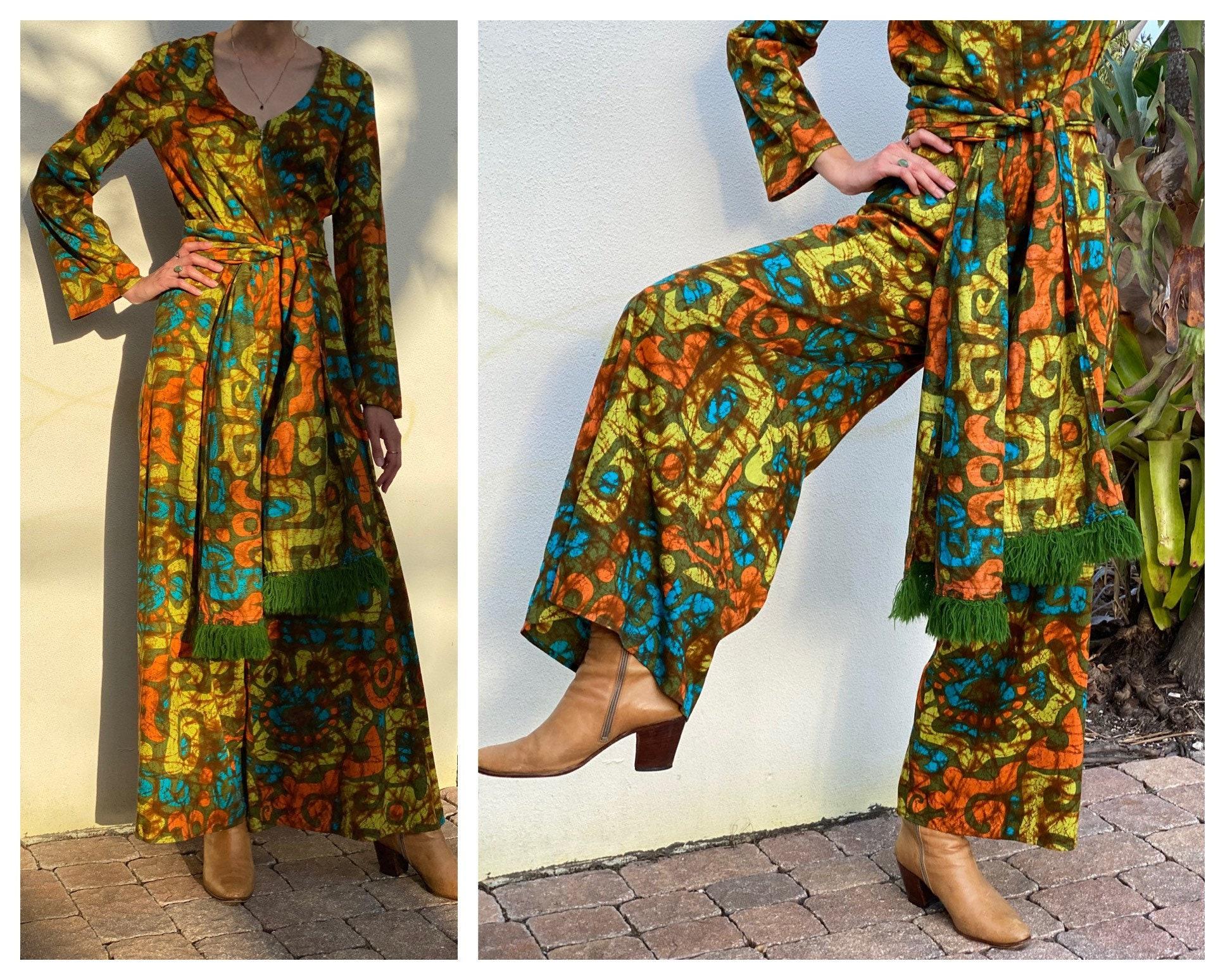 Vintage Scarf Styles -1920s to 1960s 1960S Wide Leg JumpsuitSixties Resort Wear Pantsuit Modern Mod Fabulous Printed Onesie With Fringe SashHead Scarf $40.00 AT vintagedancer.com