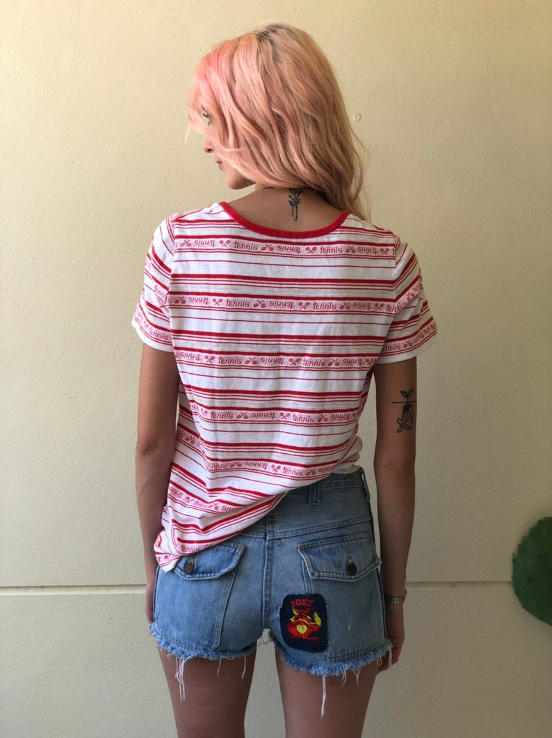 30 Waist Denim Cut Offs  FOXY  Denim Shorts  low Rise Patched Denim Hot Pants  Patchwork Light Wash  Jean Shorts Fox with a big Heart