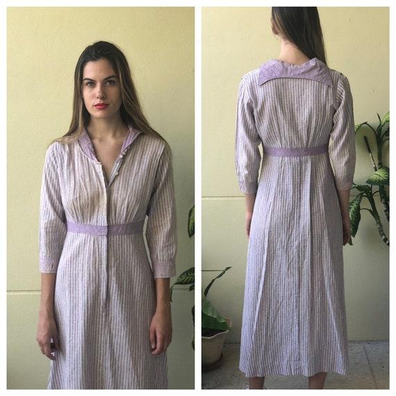 Antique Chore Dress / 1910's Cotton Workwear Dres… - image 2