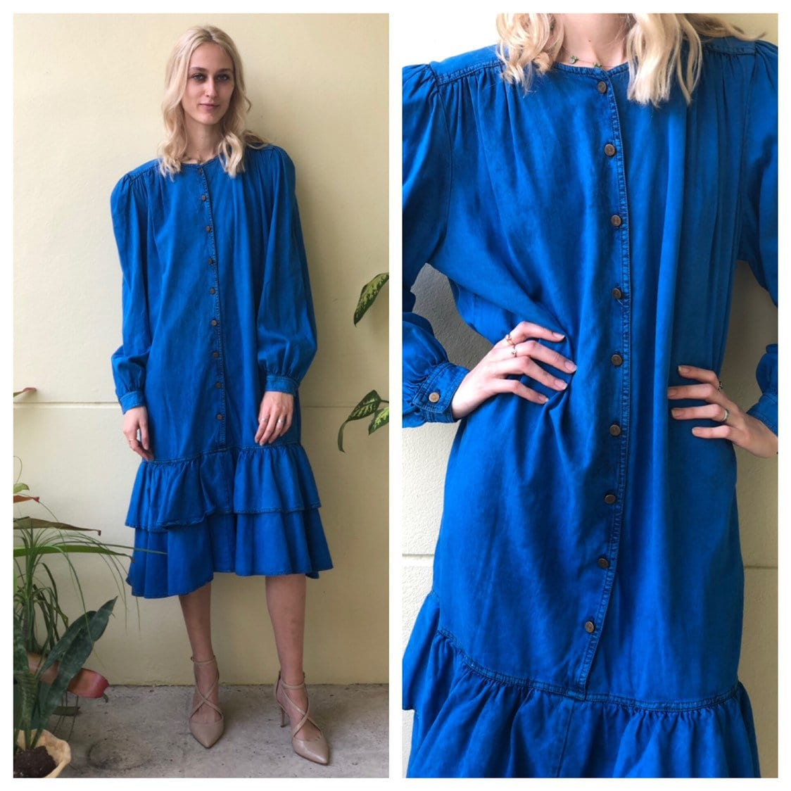 80s Dresses | Casual to Party Dresses 80S Denim DressTunic Oversized Jean Bright Blue With Frills Frilly Hem Chez Fashions $125.00 AT vintagedancer.com