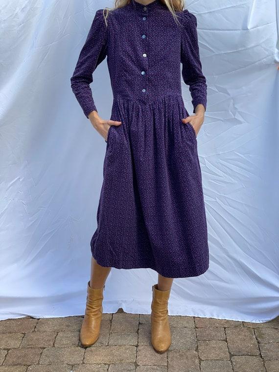 Nineties Laura Ashley Dress / Floral Corduroy Dre… - image 1