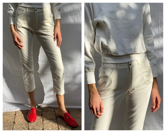 Vintage 60s Denim Jeans / Beatnik White Cotton Jea