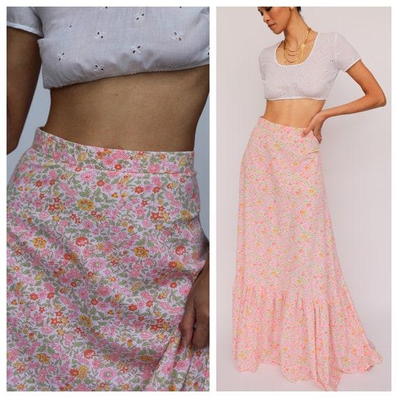 1960s Maxi Skirt / Pink Liberty Printed Cotton Max