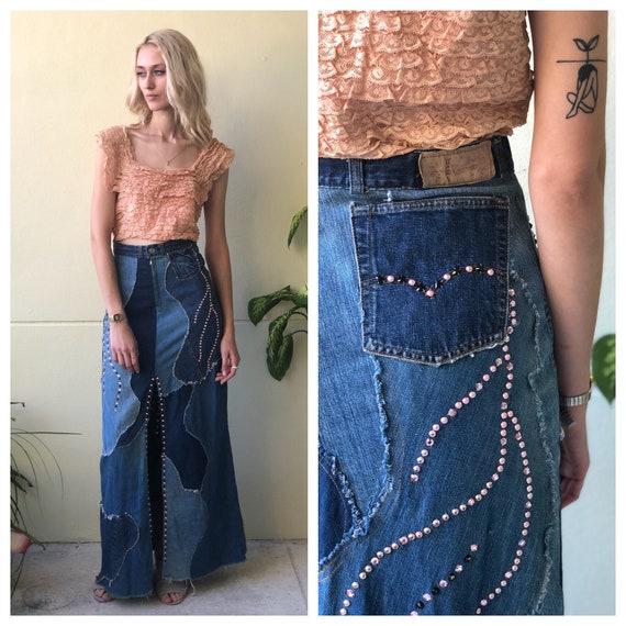 Vintage Levi's Denim Skirt / 1960's Rhinestone Stu