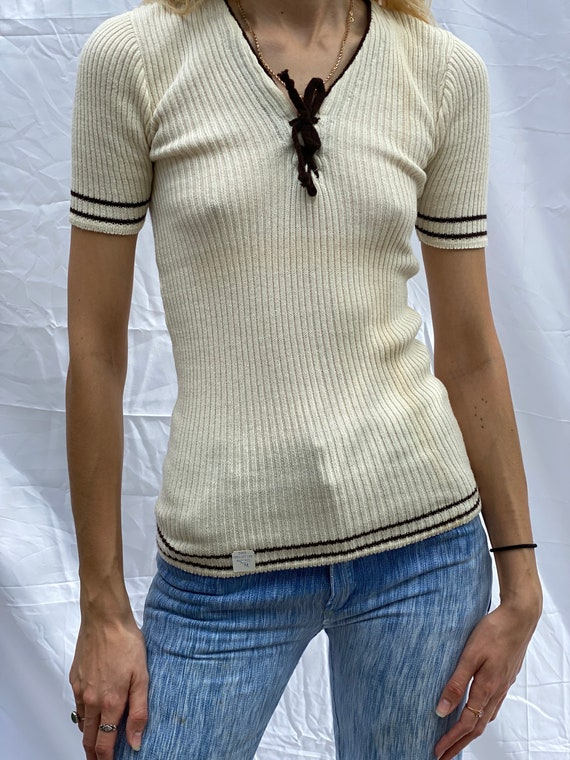1960's Knit Top / Ribbed Cotton Summer Shirt / Whi