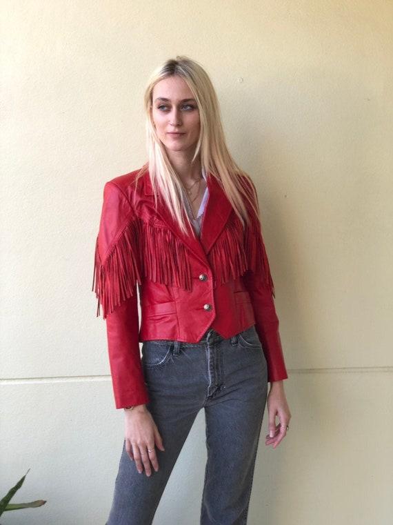 Red Leather Jacket / Vintage Leather Cropped Jacke