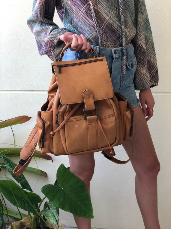 1990's Backpack Purse / Leather Handbag / Brown Le