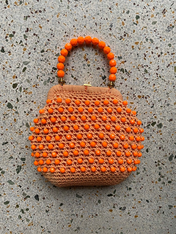1960's Beaded Raffia Handbag / Top Plastic Handle