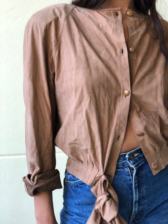 Vintage Valentino Leather Shirt / suede leather t… - image 2