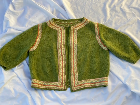 60s Cardigan / Embroidered Cropped Knit Cardigan S