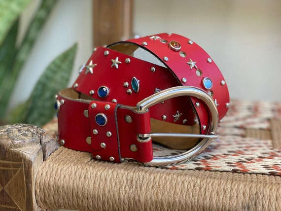 Vintage Red Leather Belt / Star Rhinestone Silver