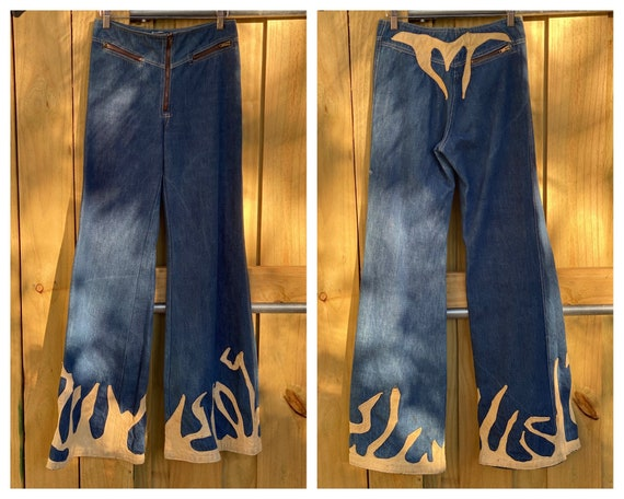 1970's Denim and Leather Jeans / Fire Flames Leath