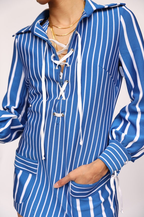 1960's Sailor Blouse / Sixties Mod Top / Blue and