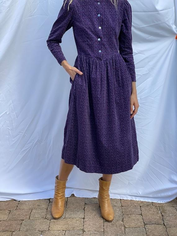 Nineties Laura Ashley Dress / Floral Corduroy Dre… - image 9