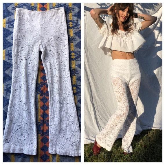 1960's Lace Pants / White Sheer Lace Pants / Sixti