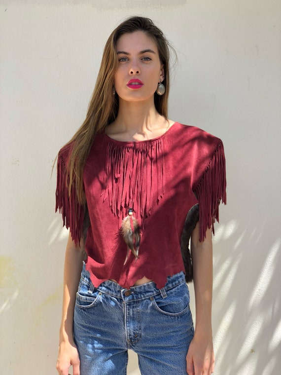 Suede Leather Shirt / 70's Leather Blouse / Fringe