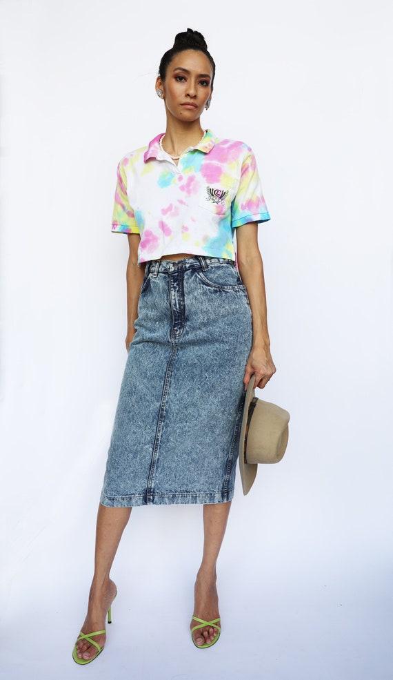 80s Acid Wash Denim Skirt / Jordache High Waisted… - image 1