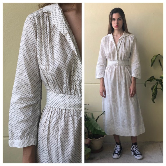 Antique Cotton Dress / 1910's Cotton Workwear Dres
