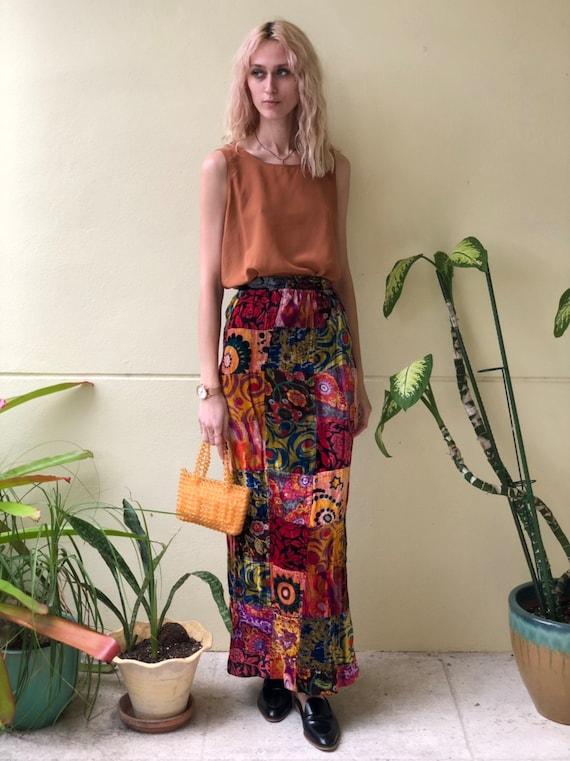 1960s Maxi Skirt / Velvet Patchwork Skirt / Burgun