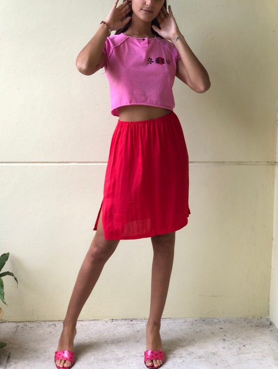 80s Slip Skirt / Tomato Red Midi Skirt / Nineties