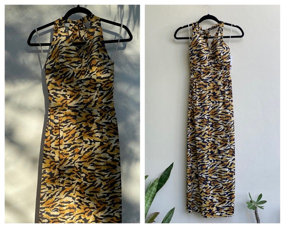 60's Tiger Print Halter Maxi / Festival Outfit / O