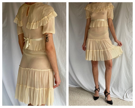1930's Sheer Dress / Ethereal Garden Party Dress … - image 1