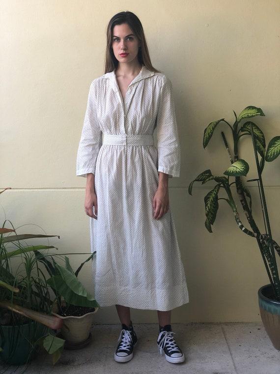 Antique Cotton Dress / 1910's Cotton Workwear Dre… - image 6