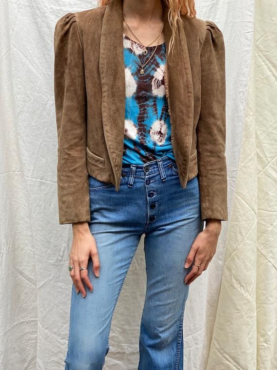 70's Leather Jacket / Cropped Blazer / Vintage Lig