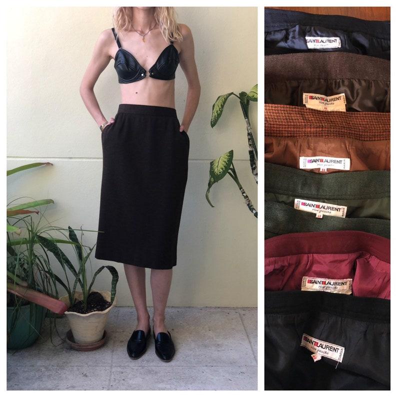 42a2ca39828 YSL Rive Gauche Skirt / Dark Brown / Vintage Midi Skirt Avant | Etsy