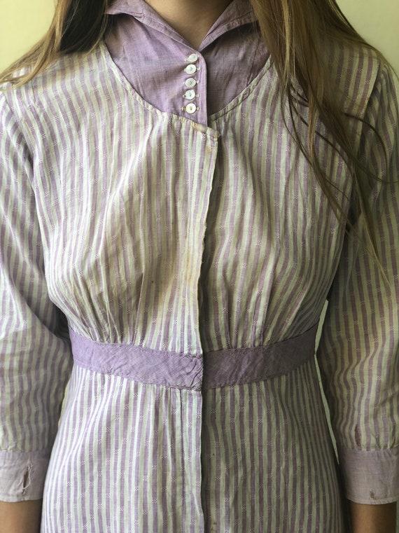 Antique Chore Dress / 1910's Cotton Workwear Dres… - image 6