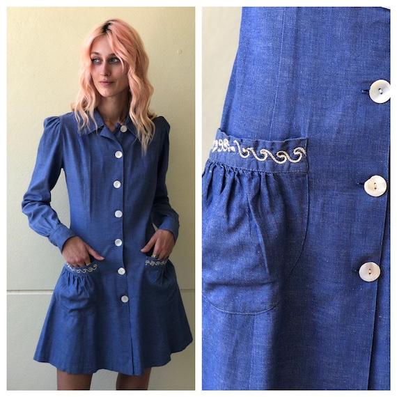 Vintage 1930's Denim Shirt Dress / Distinctive Nin
