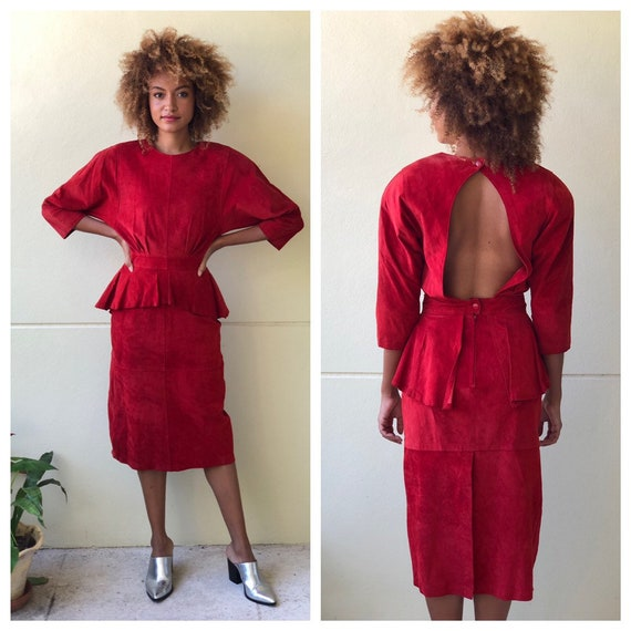 1980s Leather Body Con Dress / Red Suede Leather D