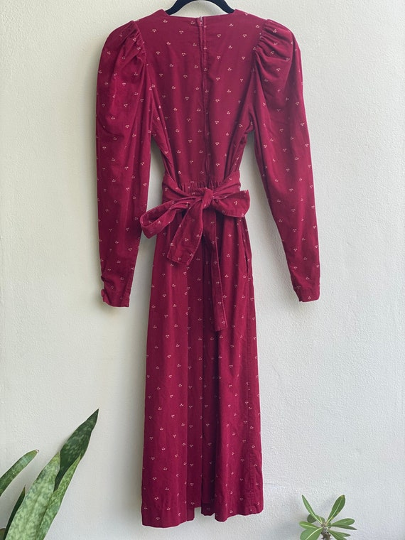 1990s Red Floral Corduroy Dress / Laura Ashley Dr… - image 4