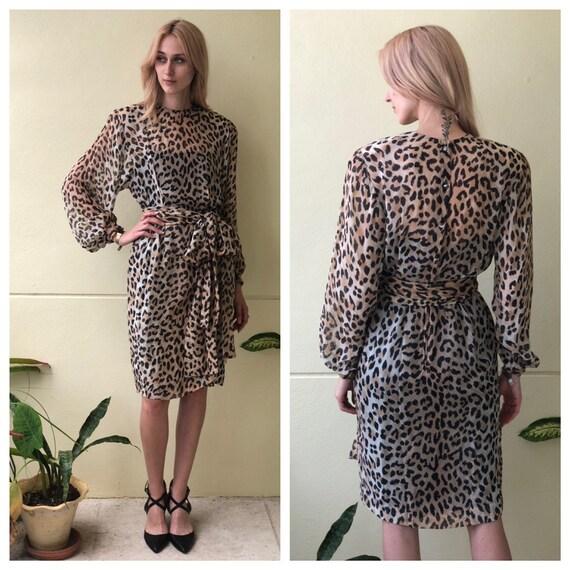 Silk Leopard Print Dress / Sheer Chiffon / Power S