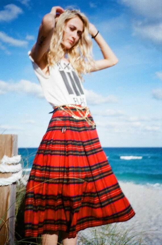 Vintage Tartan Midi Skirt / Cashmere and Wool Skir